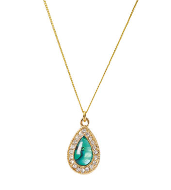 Gold Paua Shell Teardrop Necklace
