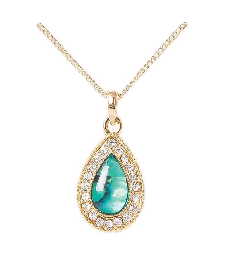Gold Paua Shell Teardrop Necklace