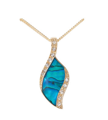 Gold Paua Shell Crystal Leaf Necklace