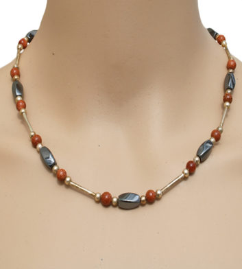 Iron Ore & Sunstone Twist Necklace