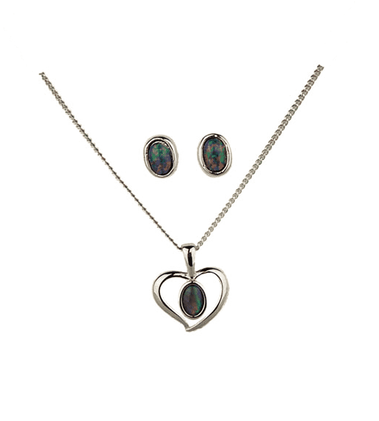 Australian Opal Heart Jewellery Set