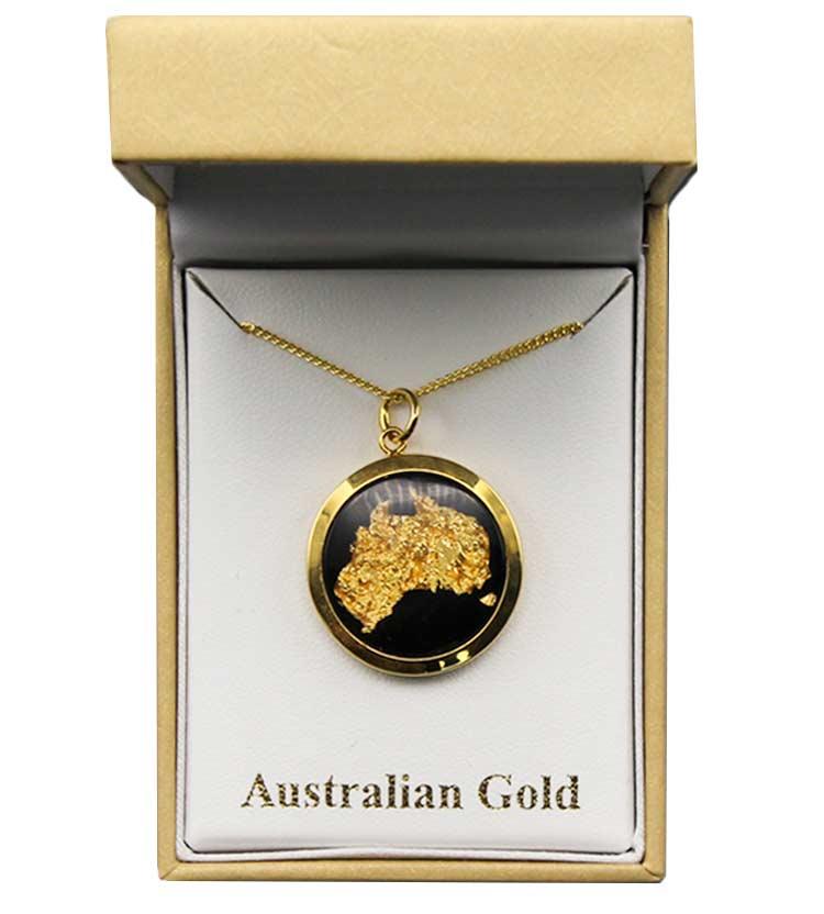 Gold Australia Map Necklace Large