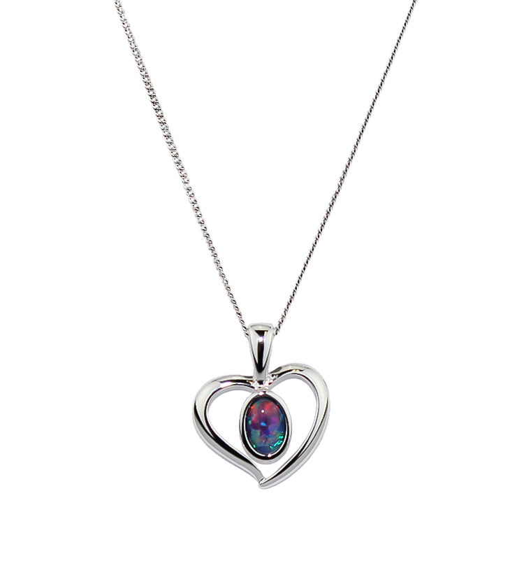 Opal Triplet Pendant Necklace