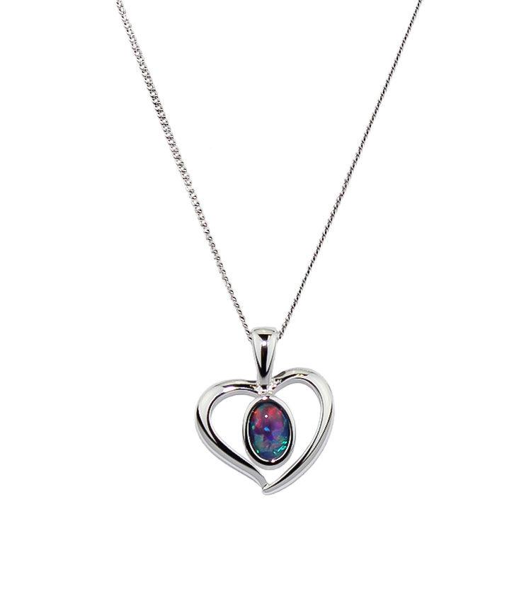 Opal Triplet Pendant Necklace