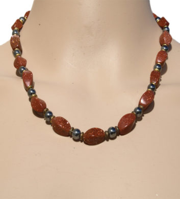 Necklace Twisted Iron Ore and Sunstone