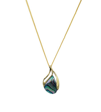 Gold Paua Shell Pendant Necklace