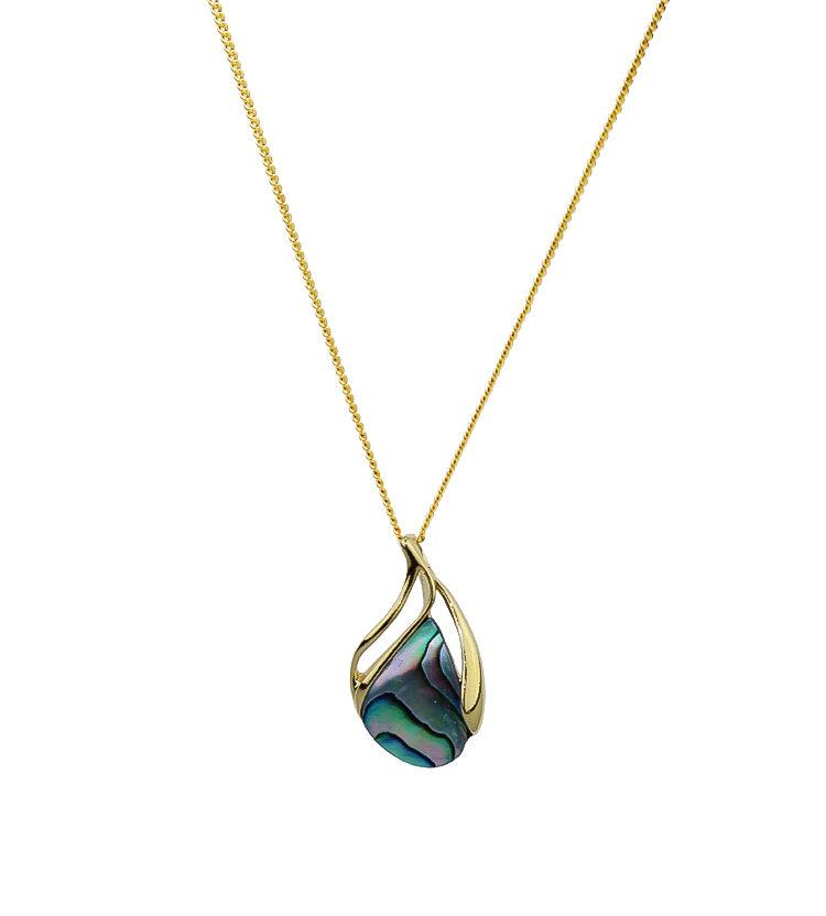Gold Paua Shell Pendant Necklace
