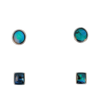 Paua Shell Stud Earrings Two Set