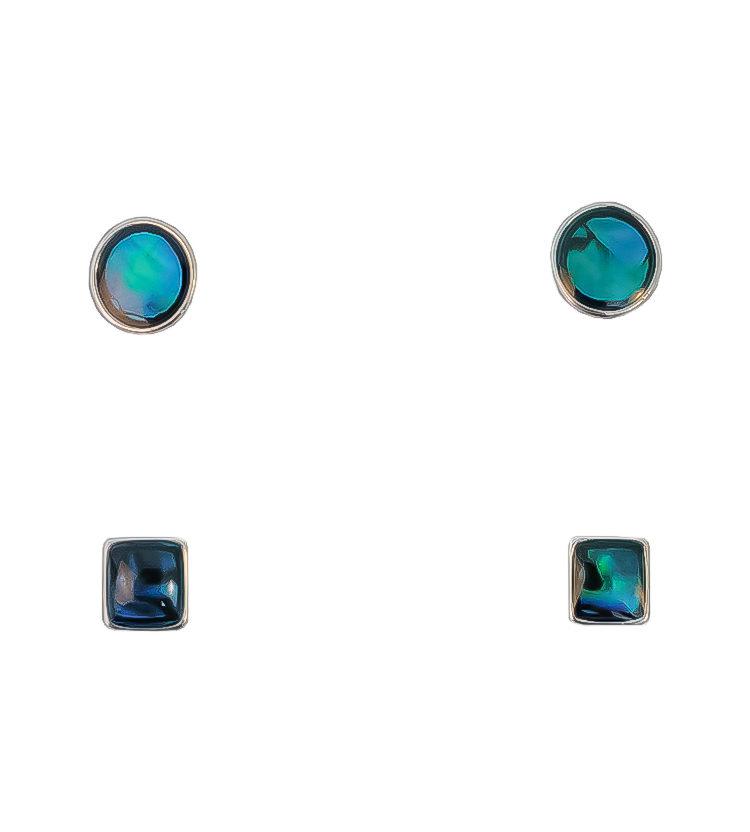 Paua Shell Stud Earrings Two Set