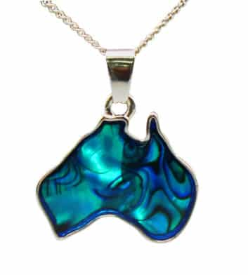 Paua Shell Australia Map Necklace