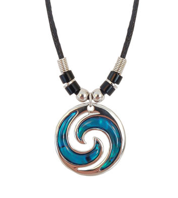 Paua Shell Double Koru Beaded Choker