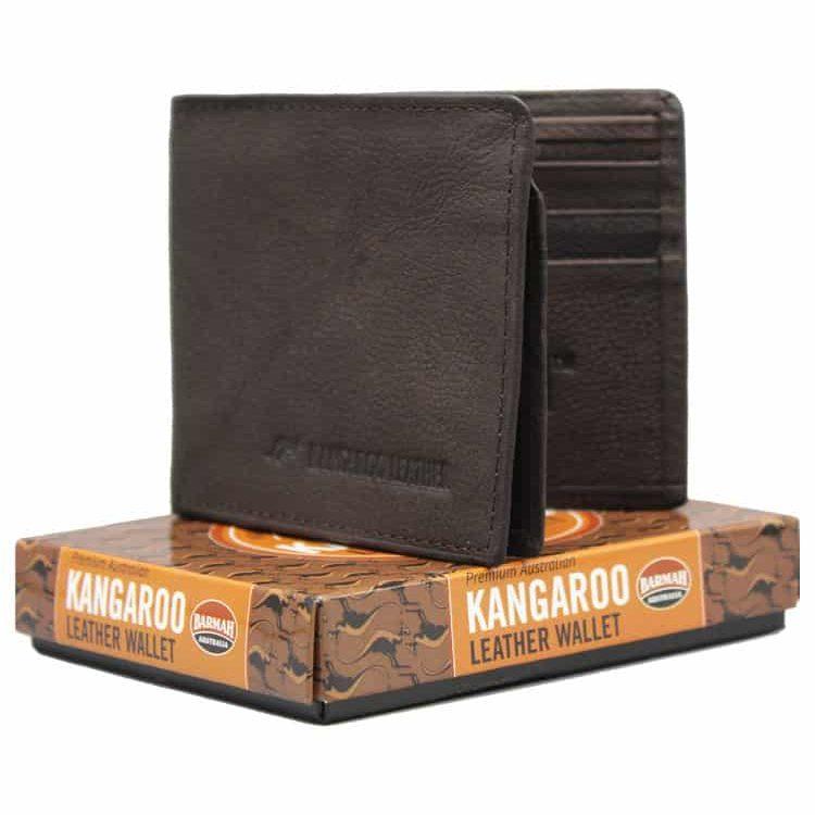 Kangaroo Leather Brown Two Fold Wallet